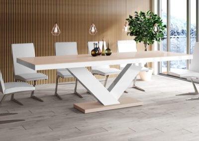 Stół_VICTORIA_cappucino+biały_połysk