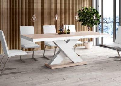 Stół_XENON_cappucino+biały_połysk