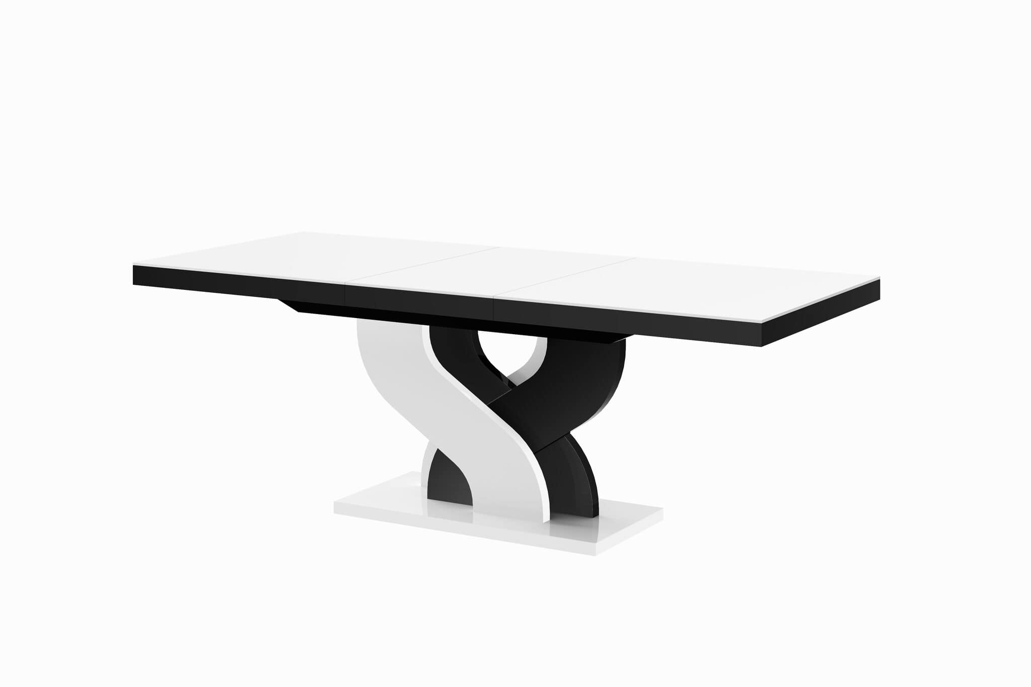 stół hubertus bella biały czarny połysk rozkładany białe tło 210-min