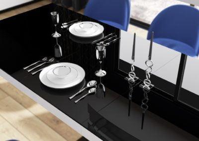 stół hubertus bella biały czarny połysk rozkładany widok z góry bok-min