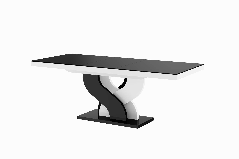 stół hubertus bella czarny biały połysk rozkładany białe tło 210-min
